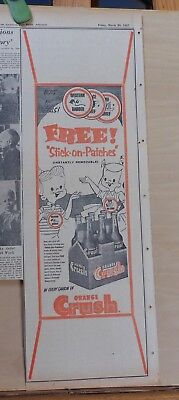 1957 newspaper ad for Orange Crush Soda - Stick on Patches giveaway on cartons