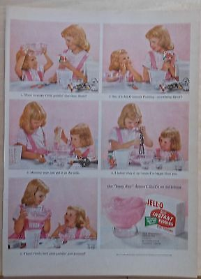 1955 magazine ad for Jell-o pudding - cute little girls make pink pudding