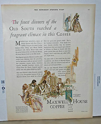 Vintage 1930 magazine ad for Maxwell House Coffee - Finest Dinners of  Old South