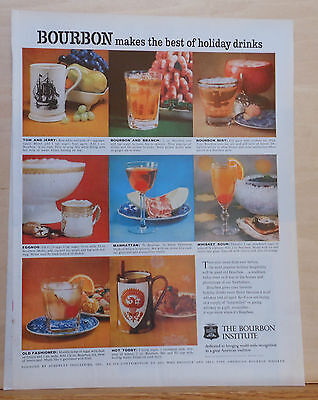 1960 magazine ad for Bourbon - recipes & photos of eight holiday cocktails