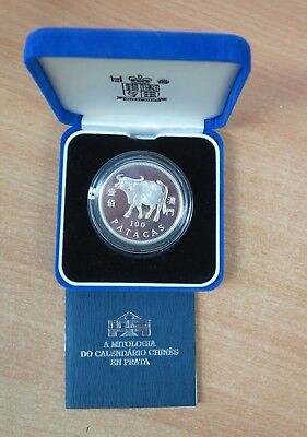 Macau 1997 100 Patacas Lunar Year of the OX Silver Proof Coin with Certificate