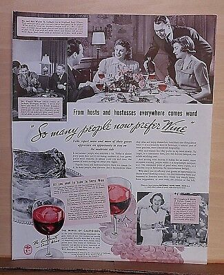 1940  magazine ad for California Wines - So Many People Now Prefer Wine