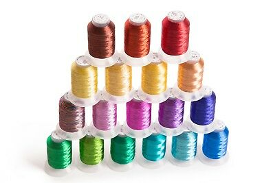 18 Spools METALLIC Embroider Machine Thread - Thread Nets for Easy Embroidery