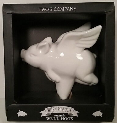 When Pigs Fly WALL HOOK White Ceramic Hook NEW by Two's Company Boxed Wings