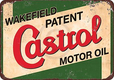 "Wakefield Castrol Motor Oil Rustic Retro Metal Sign 8"" x 12"""