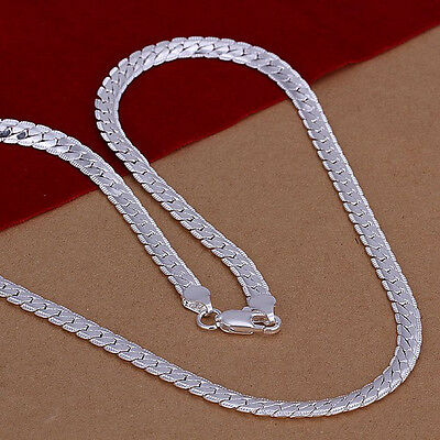 Free Shipping Sterling Solid Silver Fashion 5mm*20inch Chain Necklace N130