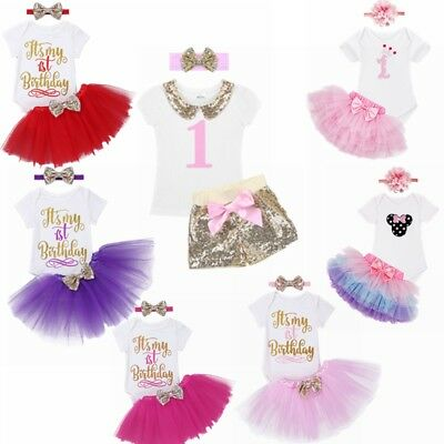 a5ada10f7 BABY GIRL FIRST 1st Birthday Tutu Dress Cake Smash Outfits Romper+ ...