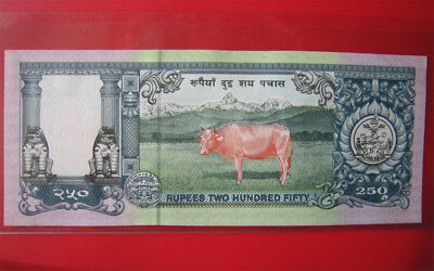 1997 Nepal 250 Rupees Pink Cow Bank Note Cu Crisp Uncirculated Banknote Currency