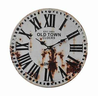 Shabby Chic Vintage Style 40cm Wall Clock Large Old Town Rust Kitchen Room Home