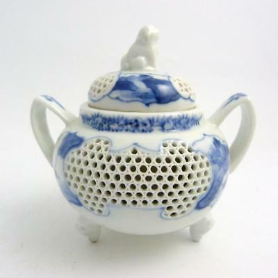 Japanese Blue And White Hirado Porcelain Double-Walled Reticulated Koro, Meiji