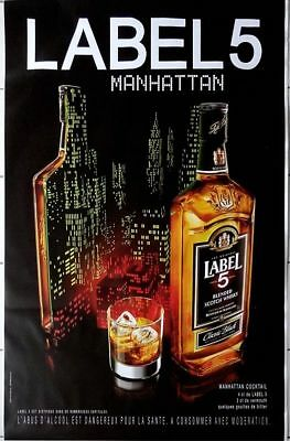 "Affiche Publicitaire "" Label 5 - Manhattan "" : Grand Format 120x175 Cm"