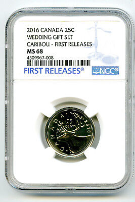 2016 Canada 25 Cent Wedding Quarter Ngc Ms68 First Releases Top Pop None Higher