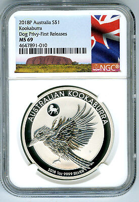 2018 P Silver $1 Australia Ngc Ms69 Kookaburra Year Of Dog Privy First Releases