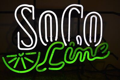 """Southern Comfort SO CO & LIME Neon Sign 20"""" x 13.5"""" WORKS"""