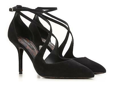 Dolce&Gabbana high stiletto heel sandals shoes in black suede leather