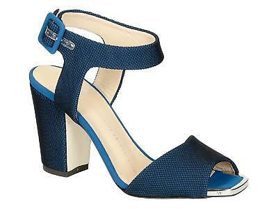 Giuseppe Zanotti block high heel sandals shoes in blue Tech fabric Made in Italy