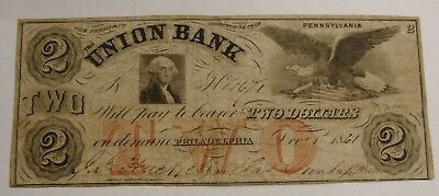 Philadelphia, PA - 1861 - Union Bank $2 Bank Note - Circ. (No Tears or Pinholes)