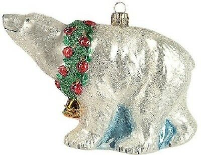 Polar Bear with Wreath Polish Glass Christmas Ornament