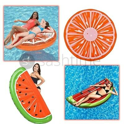 Inflatable Watermelon Orange Slice Island Lounger Air Float Lilo Swimming Pool