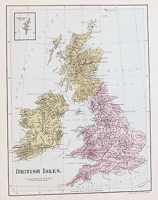 OLD ANTIQUE MAP BRITISH ISLES ENGLAND SCOTLAND IRELAND WALES c1890's by MACLURE