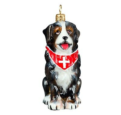 Bernese Mountain Dog with Swiss Cross Bandana Polish Glass Christmas Ornament