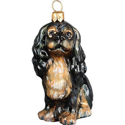 English Toy Spaniel Polish Glass Christmas Ornament Dog Tree Decoration