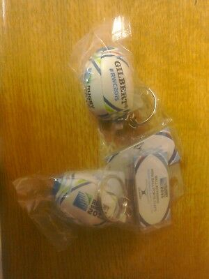 2 x Gilbert Rugby mini- soft fill rugby-ball keyrings,