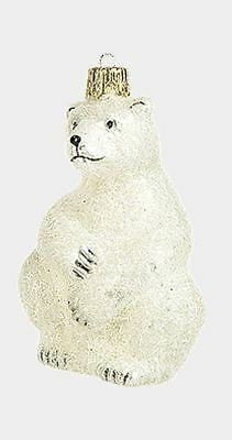 Polar Bear Wildlife Polish Mouth Blown Glass Christmas Ornament Decoration