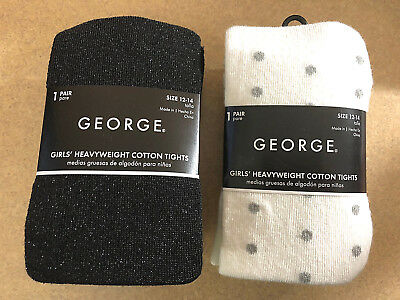 NWT! 2 Pair George Girls Heavyweight Cotton Tights Size 12-14 Tusk Dots & Black