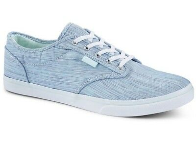 657d031b3e Vans Atwood Low Blue Textile Canvas Shoes 6.5 Womens NEW Green Accents  Freeship