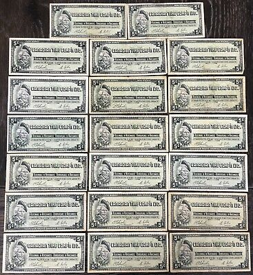 Lot of 20x Vintage 1961 Canadian Tire 5 Cents Notes - CTC-S1-B-H
