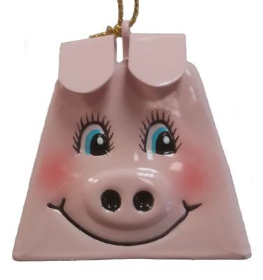 Belsnickel Giggle Lings Perry the Pig with Curly Tail Metal Cowbell Ornament