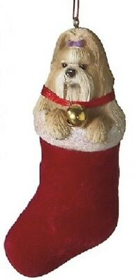 Shih Tzu Lap Dog in Stocking Christmas Ornament
