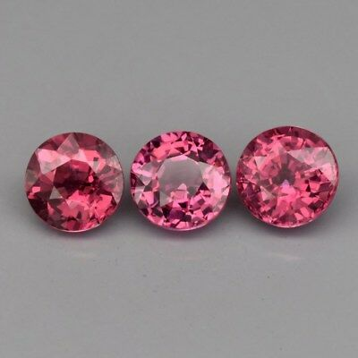 3pcs Lot 2.08ct t.w 5mm Round Natural Medium Purplish Pink Rhodolite Garnet