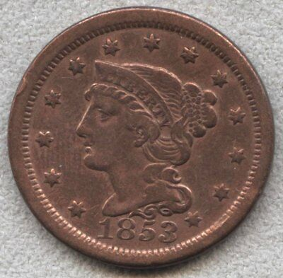 1853 Braided Hair Large Cent VF+ Detail, cleaned