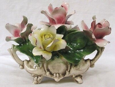 Vtg Capo Di Monte Italy Porcelain Bowl of Huge Flowers Pink Yellow
