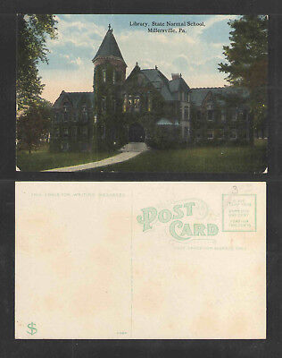 1910s LIBRARY STATE NORMAL SCHOOL MILLERSVILLE PA POSTCARD
