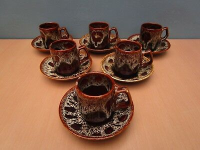 6 Kernewek Pottery Cornwall Honeycomb Cups And Saucers