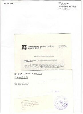 1992 Hong Kong Ohms Philatelic Bureau Post Office Envelope Stamp Info Used