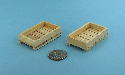 Pair of 2 Dollhouse Miniature 1:12 Scale Wooden Fruit/Vegetable Crates #SD1752