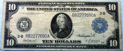 1914 $10 Federal Reserve Note *bank Of New York - Free Shipping