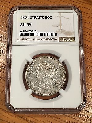 1891 Straits Settlement 50 Cents - NGC AU55 - High Quality Scans #7013
