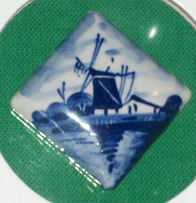 Vtg Delft Miniature Painting Tile Windmill Holland Dutch Porcelain Netherlands