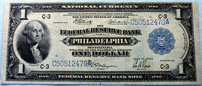 1918 $1 Large Note National Currency - The Federal Reserve Bank Philadelphia