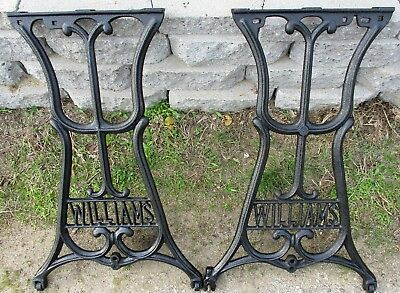 """2 MACHINE AGE CAST IRON INDUSTRIAL LEGS TABLE BASE WILLIAMS  27 3/4"""" high"""