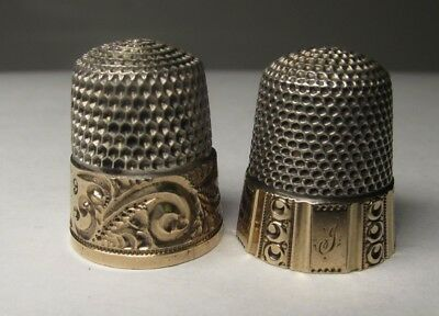 Antique Lot of 2 Sterling Silver W/ Gold Overlay Thimbles