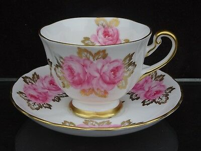 Vintage Royal Chelsea Footed Cup And Saucer With Pink  Roses/gold Leaves