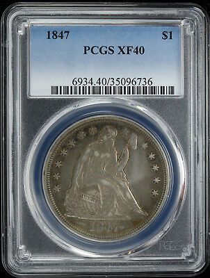 1847 Liberty Seated Dollar $1 Pcgs Certified Xf 40 Extra Fine Sweet Orig (736)