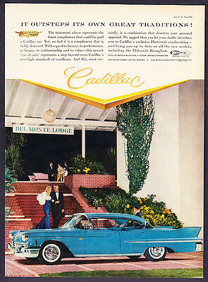 """1958 Cadillac Sedan at Del Monte Lodge photo """"Outsteps Its Tradition"""" promo ad"""