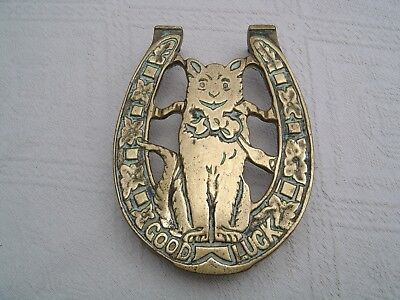 Vintage Brass Trivet / Pot Stand - Cat - Good Luck